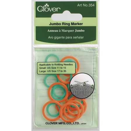 A thin ring marker for uniform knitting. Includes 10 Small for needle sizes: 11-15 and 10 large for needle sizes: 17-35