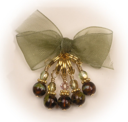 Hand made, 6mm, glass beads with Czech crystals set in 14K gold. (5) per set
