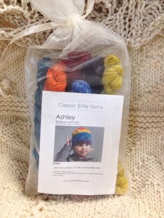 Yarn and pattern for baby and toddler sizes.