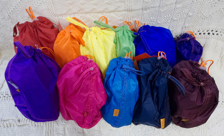 Back Row: red, orange, yellow, green, blue, purple. Front Row: orchid, pink, turquoise, navy, and maroon.