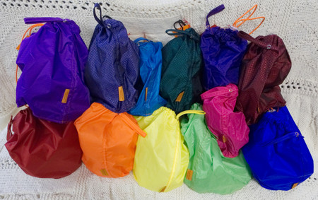 Back Row: orchid, amethyst, turquoise, emerald, purple, ruby. Front Row: red, orange, yellow, green, pink, and blue.