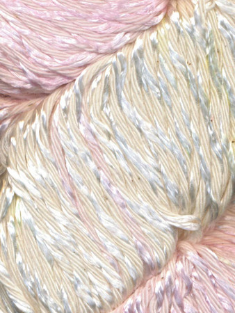 Hand-dyed, these yarns are smooth, silky, and ideal for light-weight work. The 50% cotton, 50% viscose blend adds a lovely shimmer.