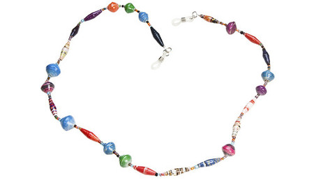 "Colorful eyeglass chain made of handcrafted paper beads. Approximately 24"" in length."