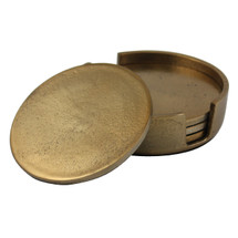 Rough Gold Coasters Set of 4 in Holder