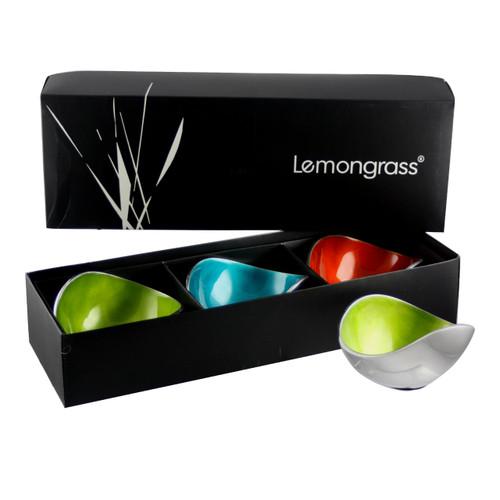 Boxed  Set of 3 Multicoloured 13cm Bowls