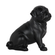 Pug Dog Matte Black Statue Sitting