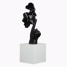 Face and Finger Sculpture - Black Gloss