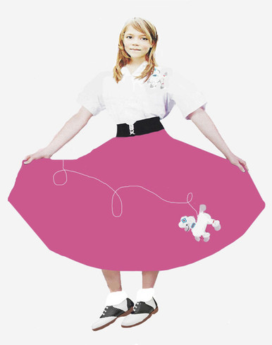 Kids Poodle Skirt that is wash 'n wear, 4 beautiful color choices, satin embroidered poodle appliique'. Great price! This one is Rose Pink.