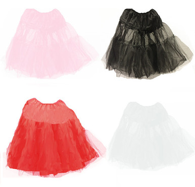 """Youth Budget Crinoline Slips. Made of 100% Polyester nylon net and nylon upper. Great addition to a 50s style poodle skirt outfit or wear them as a tu tu. So cute and made for the little 50s girl in your life. Waist 18"""" to 32"""". Length 18"""""""