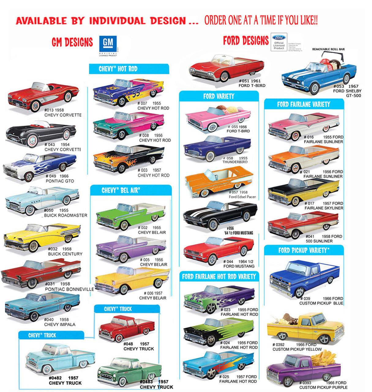 9 ~ Classic Ford Cardboard Cars Kids Dinner Paper Food Box  Party Favor Gift