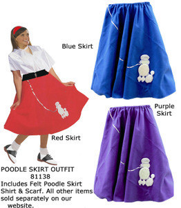 50's Felt Poodle Skirt Costume, includes a felt skirt in Adult One Size Fits Most 10 to 16 dress sizes. They come in 5 color choices Red, Blue, Purple, Black, and Pink. All feature a white felt poodle and a sequined poodle leash. On sale! Quantities Limited!!