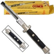 "50s Switch Blade Comb. Switch blade pocket comb features a push button spring release. This is a switch-blade comb just like the ""Fonz"" had on ""Happy Days"" TV show about the Fabulous 50s. Super cool, push the button and presto, the comb pops out!! Great accessory for that cool 50s ""Fonzie Looking"" Guy"".  Also,  really neat 50s party favors, unique gifts, or how about an interesting party table decoration. Having a 50s Theme Party, you'll want to have some switch blade combs on hand! Sometimes it comes in a clear package instead of a box.  That varies, no choice on the packaging, sorry."