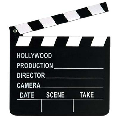 """Hollywood Clapboard Hinged Working Includes Chalk. """"Lights, Action, Camera"""", that was the standard cry when making a movie in the 1950's and the Clapboard would clap for """"Quiet on the Set"""". Those days were a simpler time, but so much fun to have your own working hinged clapboard. Includes the chalk, too! Great decoration for parties, man cave, movie theme room, theatre room, 50s party, 40s party, birthday party, (make the birthday person a """"Star"""". We have all the hollywood party plates, cups, napkins to go along with the movie theme. The clapboard measures 7 inches Wide x 8 inches High x 1/4 to 1/2 inches thick. It feels like it is made of pressed wood. It is very sturdy and can be used time and time again. Make your own video, your guests will love it!!  Only $4.99"""