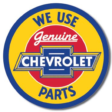Chevy Round Geniune Parts Tin Sign