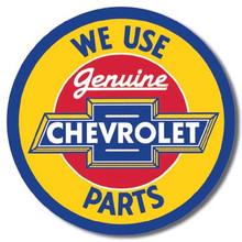Chevy Round Geniune Parts Tin Sign