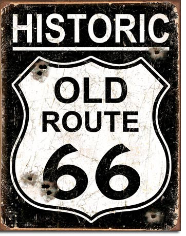 Old Route 66 - Weathered Tin Sign