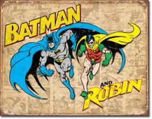 Batman and Robin Weathered Tin Sign