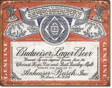 Budweiser Historic Label Tin Sign