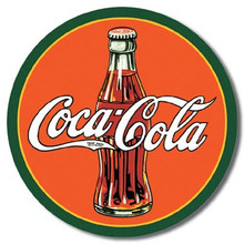 COKE - Round 30's Bottle & Logo Tin Sign