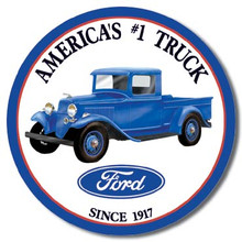 Ford Trucks - Round Tin Sign