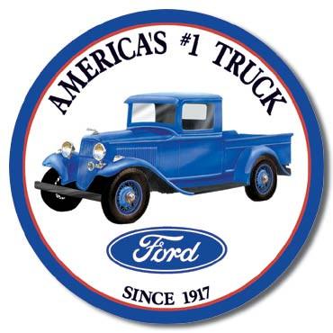Ford Trucks - Round Tin Sign