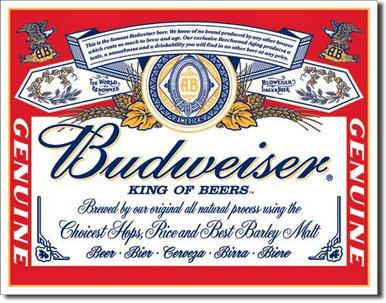 Budweiser - Label Tin Sign
