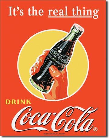 COKE Real Thing - Bottle Tin Sign