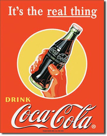 COKE Real Thing - Bottle Tin Sign