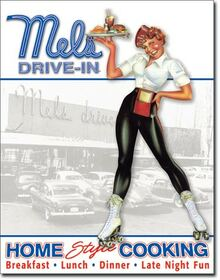 Mels Diner - Car Hop Tin Sign