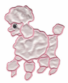 "5 1/2"" High Pink Satin Poodle Applique'. Can be an iron-on or a sew-on whichever you prefer. Includes iron-on instructions. Add to a white blouse and have your own poodle blouse or shirt. We also carry one in the 8"" High. Slight variation in color but could be used on the poodle skirt to match this one on the shirt. Not a drastic difference."