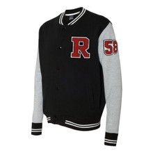 Varsity Sweatshirt Jacket with Number and Letter