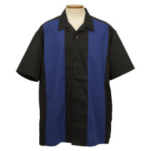 Striped Royal Blue and Black Bowling Shirt
