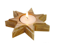 Olive Wood Bethlehem Star Candle Holder. (4 inches in D)