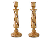 Olive Wood Candle Holders (9 inches in Height) 0504