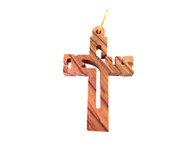 Olive Wood Jesus Name Cross 1.4 inches in Height