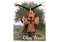"Olive Wood Cross With Dove Pendant. (1.3""H)"