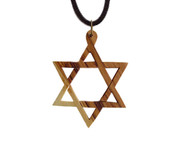 Olive Wood Star Of David Pendant. (2.4 inches in Height)