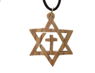 Olive Wood Star Of David With Cross Pendant.(2.4 inches in Height)