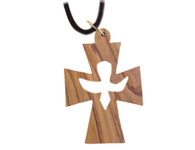 Olive Wood Cross With Dove Pendant. (1.4 inches in Height)