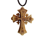 Olive Wood Jerusalem Cross Pendant. (2.4 inches in Height)