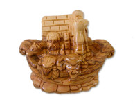 Olive Wood Noah's Ark Statue. (4.5 inches in Height)