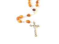 Olive Wood Oval Carved Bead Rosary with Soil Centerpiece.