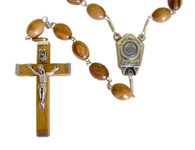 Olive Wood Rosary Containing Water From The Jordan River (22 inches in Length)