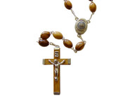 Olive Wood Rosary Centerpiece Containing Soil From Bethlehem.