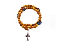Olive Wood Wrap Bracelet Rosary- Round Beads