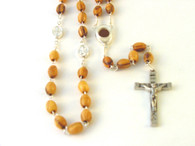 Olive Wood Rosary Centerpiece Containing Soil From Bethlehem and Saints Medals.