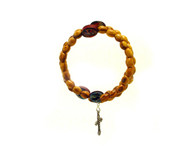 Olive Wood Wrap Bracelet Rosary- Oval Beads