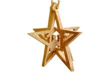 Olive Wood Star Of Bethlehem Ornament.