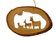 Olive Wood Ornament - Deer Family