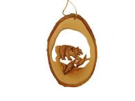 Olive Wood Ornament - Fishing Bear
